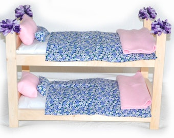 Double Doll Bunk Bed - Lilac Garden American Made Girl Doll Bunk Bed - Fits 18 inch dolls and AG dolls