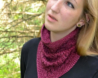 Cowl Knitting PATTERN PDF, Knitted Cowl Pattern, Neckwarmer - Loganberry Cowl