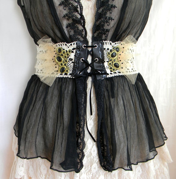 Black and Creamy Ivory Gothic Lolita Waist Belt Bodice, Whimsical Sexy Budoir Lace Corset with Baroque Corsage Applique Detailed