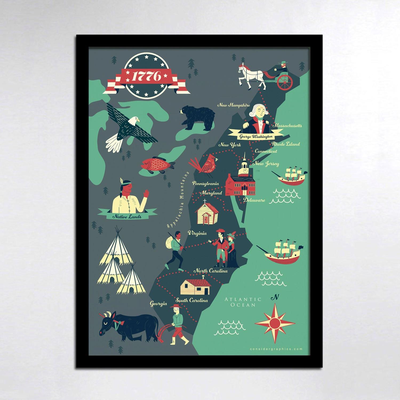 KIDS Map Historical American Map 13 colonies map print KIDS
