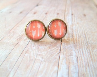 C O R A L - Coral Peach and White Arrow Photo, Glass Cab, Antique Bronze Stud Earrings, 12mm