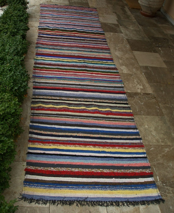 Vintage Rag Rug Runner Long 1960's Blues Yellows Pinks