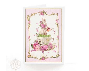 Rabbit card, birthday card, Easter card, pink, all occasion, blank inside