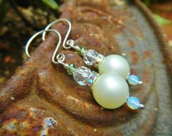 Exotica Earrings - Vintage Green Pearly Beads, Vintage Opalite, Crystals, AB Rhinestone Rondelles & Handmade Sterling Silver Ear Wires
