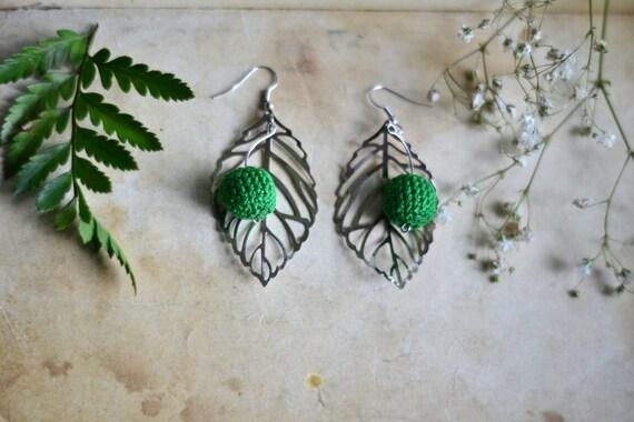 Green crochet earrings - Silver & Green - Everyday Jewelry