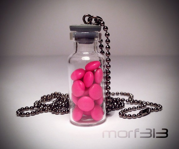 Euphoria ecstasy happy pill bottle necklace glass vial by for Pill bottle jewelry