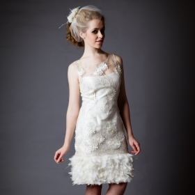 Short Dress Feathers Silver Ivory Sequins Silk Shantung Flowers Bridal Gown Wedding