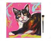 Sale ORIGINAL OIL PAINTING 12x12 Pop Art Cat