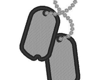 DOG TAGs Applique, Military Soldier Sailor Grunt Airman  - INSTANT Download Machine Embroidery Design by Carrie