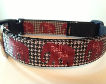 Large Alabama Roll Tide Elephant and Houndstooth Dog Collar