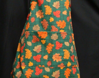Small Adult Apron  Autumn Leaves pattern  (#144)