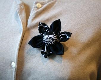 Black Fabric Flower Brooch, Flower Pin - Handmade Fabric Flower