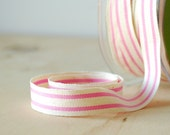 """French Stripe Cotton Ribbon Pink Stripe French Style 5/8"""" Natural Cotton Twill Tape 5 Yards"""
