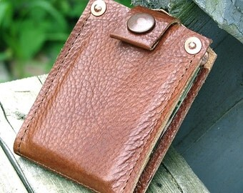 Men's Leather Wallet - Slim Jim Bifold Money Clip --- Copper Brown with Copper Hardware