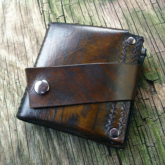 Men's Leather Money Clip Wallet - Hand Stitched - Wood Grain Brown - MADE to ORDER