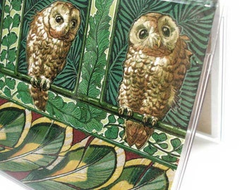Checkbook Cover - Curious Owls - woodland owl print check book holder - forest green nature bird theme