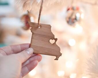 Missouri State Ornament - Bamboo - Missouri Ornament Wooden Ornament I Heart Missouri Charm Holiday Decor Gift