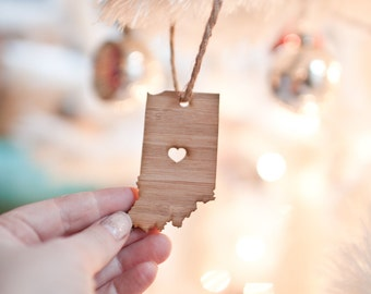 i heart Indiana State Ornament - Bamboo - Indiana Ornament Wooden State Cutout Ornament IN State Pendant With Heart Ornament Car Mirror
