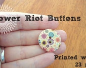 Flower Riot Wood Buttons - wood with colorful flower design, 23mm, light, great for knitwear