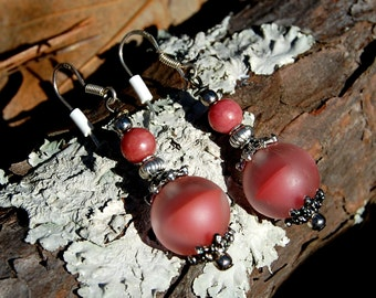 Rose Pink Matte Beaded Earrings