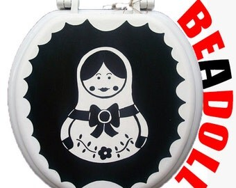 Russian Nesting Doll Black White Toilet Seat Bathroom Wall Decor Art Remodel Hand Painted