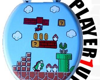 Mario Hand Painted Toilet Seat Nintendo 8 Bit Geekery Video Game Arcade Dad Grad Gift