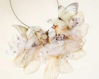 Fluttery Breath of Life Necklace in White and Ivory