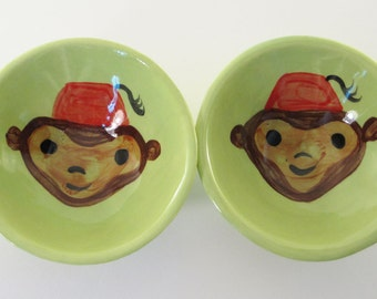 Little Monkey in a Fez dipping bowls, sushi, salt and pepper, mini, serving, pottery, ceramic