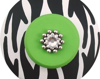Black White LIME Green ZEBRA Animal Print Decor Jeweled Hand Painted Wood Drawer Decorative Dresser Childrens Kids Knobs Pulls Nursery Room