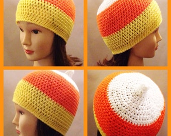 Candy Corn Beanie in yellow, white and orange - Adult medium- large