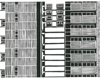 Linocut Print - Relief Print - CITY WALLPAPER - Singapore City Architecture - Ready to Ship