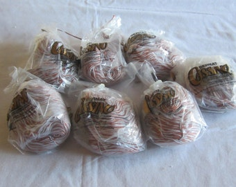 Seven skeins of Bernat Casino mercerized cotton yarn brown and baby blue mix