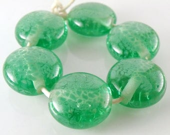 Green Apple - Handmade Lampwork Beads - Lampwork Glass Lentil Beads 18mm - Green - SRA (Set of 6 Beads)