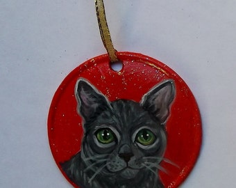 Russian Blue Cat Custom Hand Painted Christmas Ornament Decoration