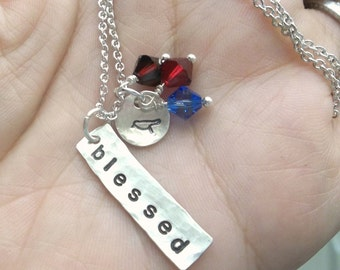 Mama Bird Necklace - blessed - Custom Handstamped Sterling Silver Necklace with bird & swarovski birthstones