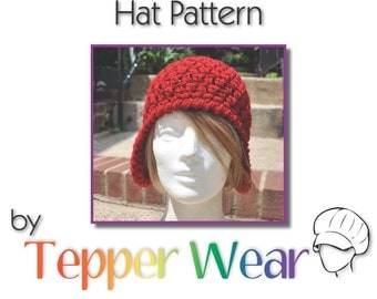 Crochet Earflap Hat Pattern - Crochet hat pattern for Womens Earflap Hat - Instant Download