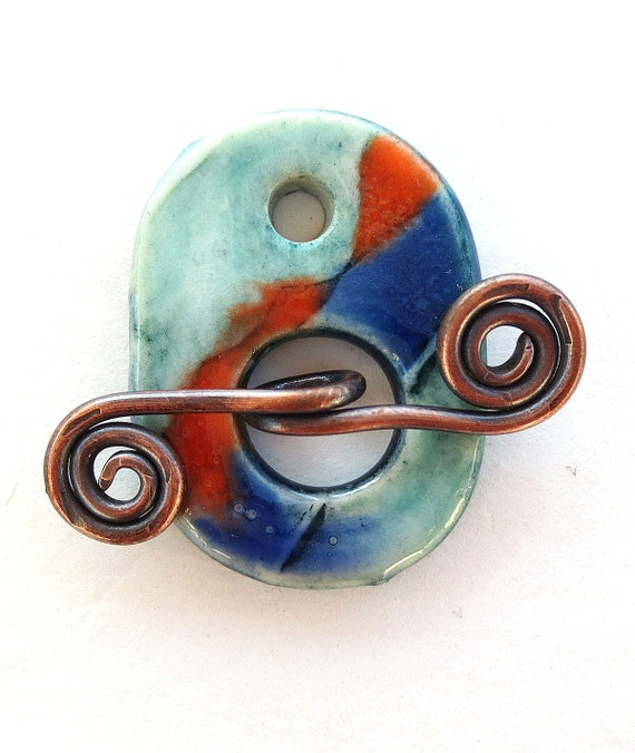 Handmade Porcelain Toggle Clasp  Red and Blues Porcelain