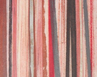Stripes 56 -  gray, brown and red striped Collagraph hand-pulled print - 5 x 8 inches OOAK