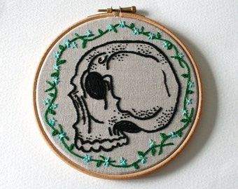 Forget Me Not Skull Hoop Art Hand Embroidered Memento Mori Wall Decor