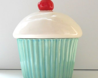 Ceramic Cupcake Cookie Jar, Aqua Mint Decor, Biscuit Jar, Pet treat jar, Dog Cookie Canister, Cupcake Gift, Aqua Home Decor, Cupcake Theme