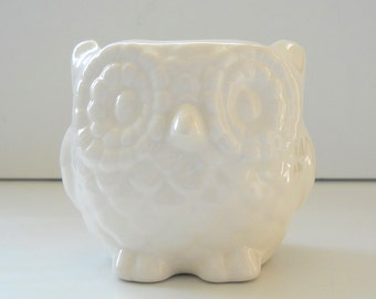 Owl Planter, Mini Planter, Modern Planter, Succulent Planter, Vintage Design, White Sponge Holder, Ceramic Candle Holder, Minimalist Planter