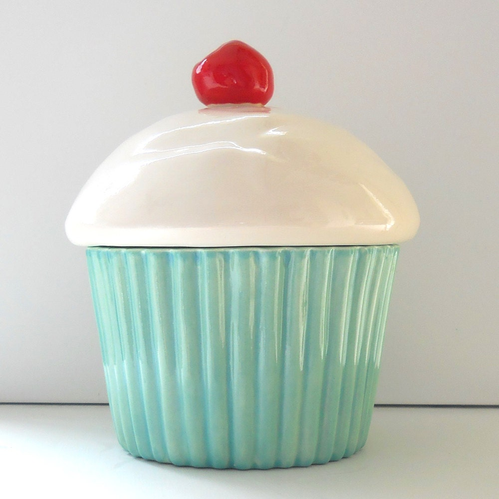 Ceramic Cupcake Cookie Jar Aqua Mint Decor Biscuit Jar Pet