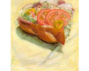 HOAGIE HALF 1 - archival print of original pastel drawing - food art by Mike Geno
