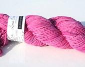 Handpainted Yarn - Electric Pink Silk 4.7 oz 232 yards Bulky
