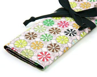 Large Knitting Needle Case - Mayfly Buddies with 30 black pockets for circulars, straights and double points
