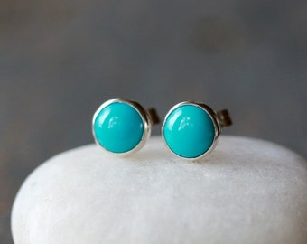 Turquoise Stud Earrings, Sleeping Beauty Turquoise, Sterling Silver Turquoise Jewelry, December Birthstone, Boho Stud Earrings