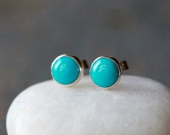 Turquoise Stud Earrings, Sleeping Beauty Turquoise, Sterling Silver Post, Classic Stud Earrings, Boho Stud Earrings, 6mm Size Dot