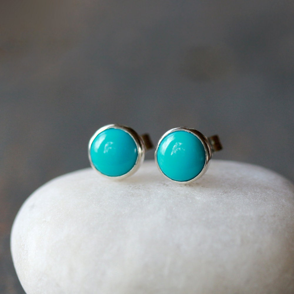 Turquoise Stud Earrings, Sleeping Beauty Turquoise, Sterling Silver  Turquoise Jewelry, December Birthstone,