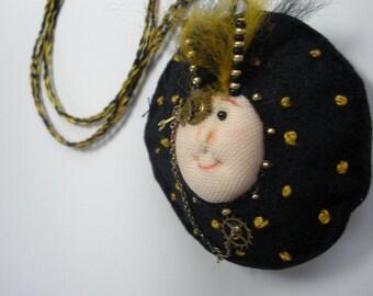 Fiber Art Doll, Steampunk Art Doll, Doll Statement Necklace, Wool Felt wearable art