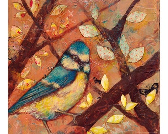 Original Bird Painting Mixed Media Autumn Bluebird Painting Canvas Wall Art